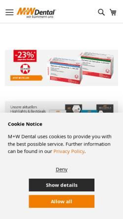 Vorschau der mobilen Webseite www.mwdental.de, M+W Dental
