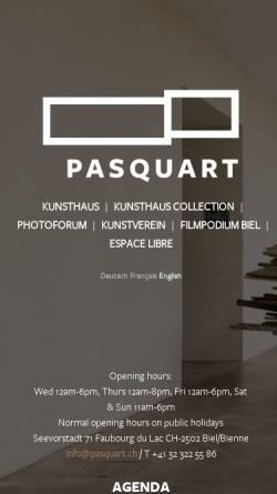 Vorschau der mobilen Webseite www.pasquart.ch, Biel, Centre PasquART