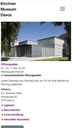 Vorschau der mobilen Webseite www.kirchnermuseum.ch, Davos, Kirchner Museum