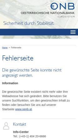 Vorschau der mobilen Webseite www.oenb.at, Österreichische Nationalbank Kreditinstitutsverzeichnis