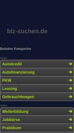 Vorschau der mobilen Webseite www.blz-suchen.de, Suche und Validierung von Bankleitzahlen und Kontonummern