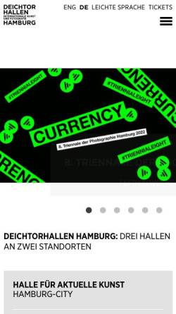 Vorschau der mobilen Webseite www.deichtorhallen.de, Hamburg, Deichtorhallen