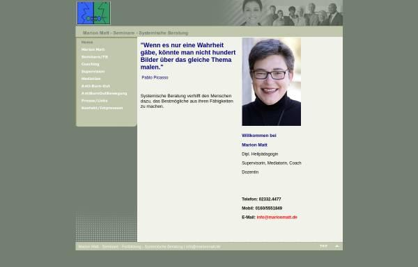 Vorschau von www.marionmatt.de, Marion Matt Supervision Coaching Mediation