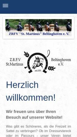 Vorschau der mobilen Webseite www.reitverein-beltinghoven.de, Reitverein St. Martinus Beltinghoven e.V.