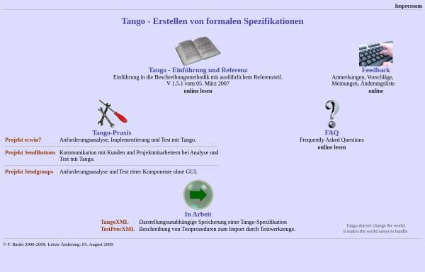 Vorschau von www.tasp.de, Test-, Analyse- und Beschreibungssprache Tango
