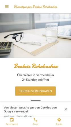 Vorschau der mobilen Webseite www.rohrbachers.de, Beatrix Rohrbacher