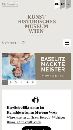 Vorschau der mobilen Webseite www.khm.at, Wien, Kunsthistorisches Museum