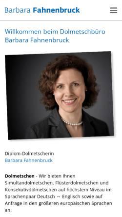Vorschau der mobilen Webseite www.dolmetschbuero-fahnenbruck.de, Dolmetschbüro Barbara Fahnenbruck