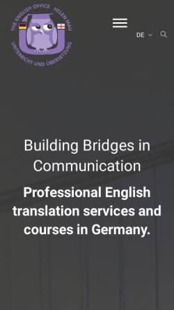 Vorschau der mobilen Webseite www.the-english-office.de, The English Office, Inh. Helen Mau