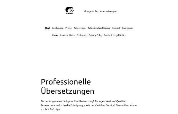 Vorschau von www.fachuebersetzen.com, Fachübersetzungen Moegelin, Inh. Bettina Moegelin