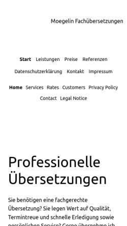 Vorschau der mobilen Webseite www.fachuebersetzen.com, Fachübersetzungen Moegelin, Inh. Bettina Moegelin