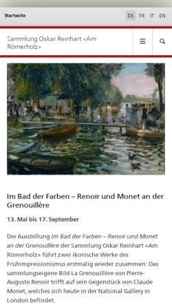 Vorschau der mobilen Webseite www.bundesmuseen.ch, Winterthur, Sammlung Oskar Reinhart
