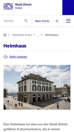 Vorschau der mobilen Webseite www.stadt-zuerich.ch, Zürich, Helmhaus