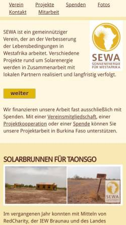 Vorschau der mobilen Webseite www.solar-afrika.de, SEWA - Sonnenenergie für West Afrika