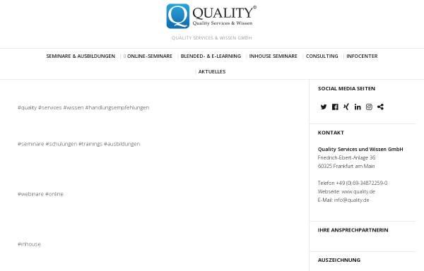 Vorschau von www.quality.de, Qualitätsmanagement unter einem Dach