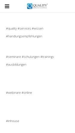 Vorschau der mobilen Webseite www.quality.de, Qualitätsmanagement unter einem Dach
