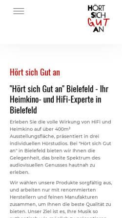 Vorschau der mobilen Webseite www.hsga-gmbh.de, HiFi-Studio Hört Sich Gut An