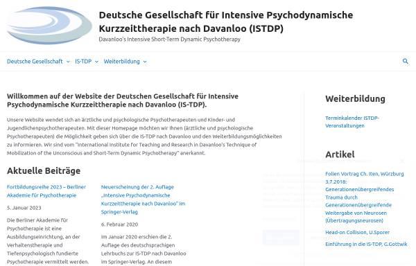 Vorschau von www.istdp.de, Deutsche Gesellschaft für Intensive Psychodynamische Kurzzeittherapie nach Davanloo (IS-TDP)