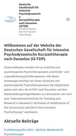 Vorschau der mobilen Webseite www.istdp.de, Deutsche Gesellschaft für Intensive Psychodynamische Kurzzeittherapie nach Davanloo (IS-TDP)