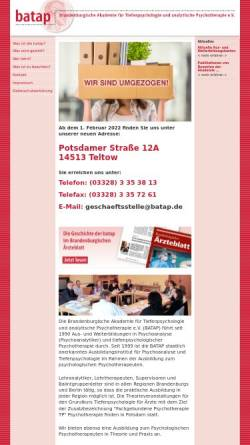 Vorschau der mobilen Webseite www.batap.de, Weiterbildung Tiefenpsychologie, Psychotherapie