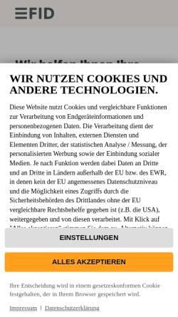 Vorschau der mobilen Webseite www.fid-verlag.de, FID Verlag GmbH