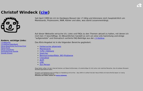 Vorschau von www.heise.de, Hardware-Tipps von c't-Redakteur Christof Windeck