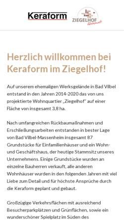 Vorschau der mobilen Webseite www.keraform.de, KeraForm Spezialziegel GmbH