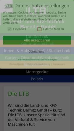 Vorschau der mobilen Webseite www.lt-barnitz.de, Land- und Kfz-Technik Barnitz GmbH
