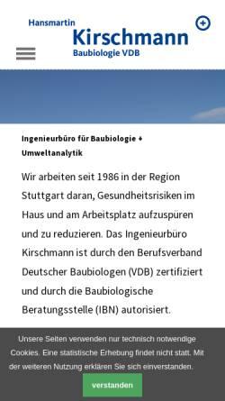 Vorschau der mobilen Webseite kirschmann.de, Hansmartin Kirschmann