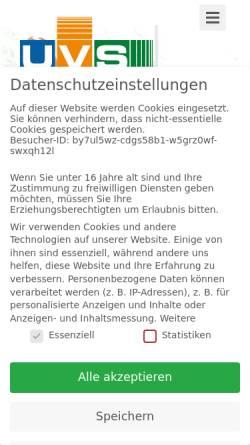 Vorschau der mobilen Webseite www.uvs.de, UvS Umweltanalytik Ingenieurbüro - Dipl.-Ing. Ulrich vom Schloß