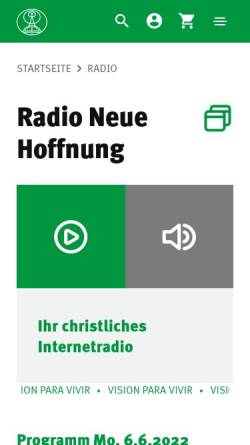 Vorschau der mobilen Webseite www.rnh.de, Radio Neue Hoffnung