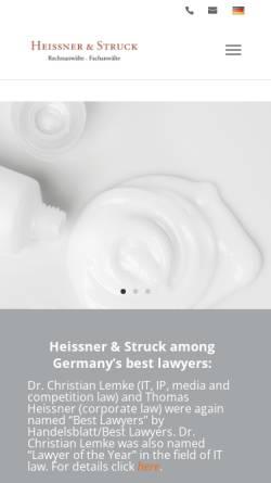 Vorschau der mobilen Webseite www.heissner-struck.de, Heissner & Struck