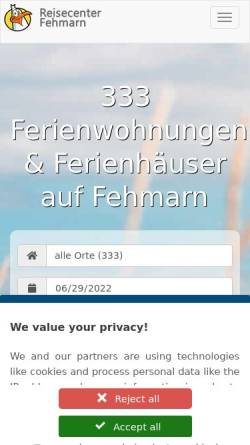 Vorschau der mobilen Webseite www.reisecenter-fehmarn.de, Reisecenter Fehmarn GbR