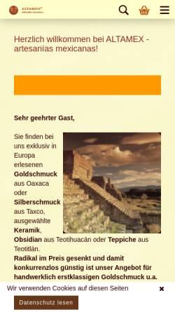 Vorschau der mobilen Webseite www.altamex.de, Altamex Artesanías e.K, Dieter Kaiser