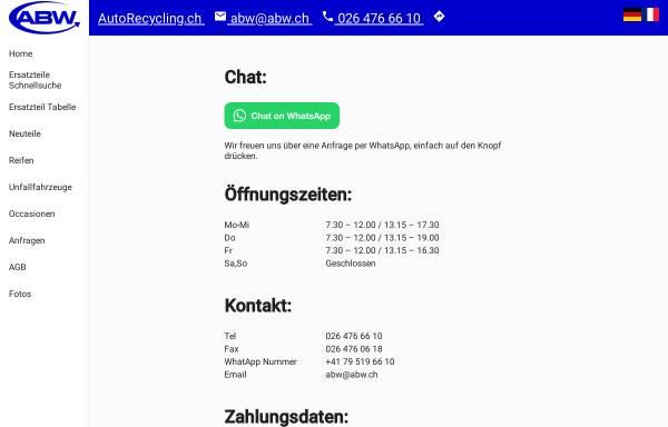 Vorschau von www.abwsa.ch, ABW Auto-Bestandteil-Wiederverwertungs AG