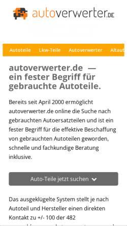 Vorschau der mobilen Webseite autoverwerter.de, Autoverwerter.de e.K.