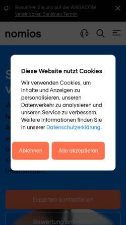 Vorschau der mobilen Webseite www.nomios.de, Stefan Frank - Nomios Typo3 Webdesign