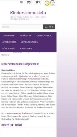 Vorschau der mobilen Webseite www.kinderschmuck4u.de, Kinderschmuck4u, Sandra Oostinga