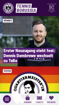 Vorschau der mobilen Webseite www.tebe.de, Tennis Borussia Berlin