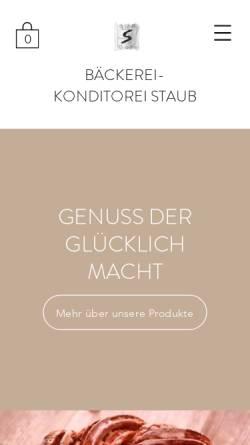Vorschau der mobilen Webseite www.baeckerei-staub.ch, Bäckerei-Konditorei Staub, Neuheim