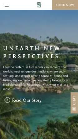 Vorschau der mobilen Webseite www.banyantree.com, Banyan Tree Hotels & Resorts