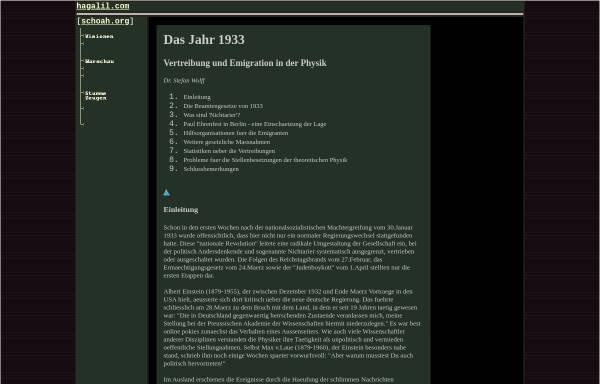 Vorschau von www.hagalil.com, Das Jahr 1933: Vertreibung und Emigration in der Physik