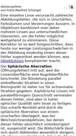 Vorschau der mobilen Webseite www.foto-net.de, Optische Abbildungsfehler