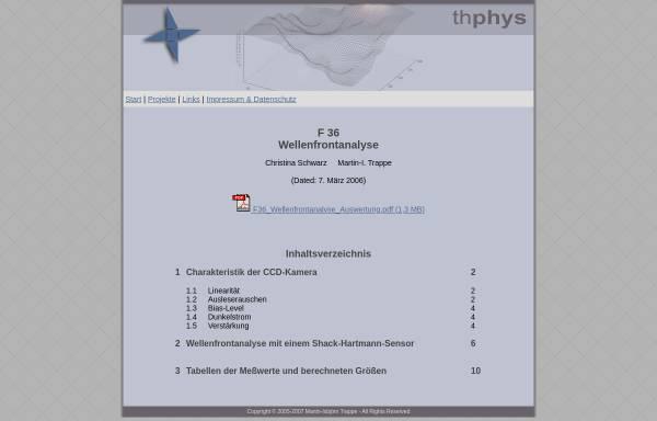 Vorschau von www.thphys.de, Wellenfrontanalyse