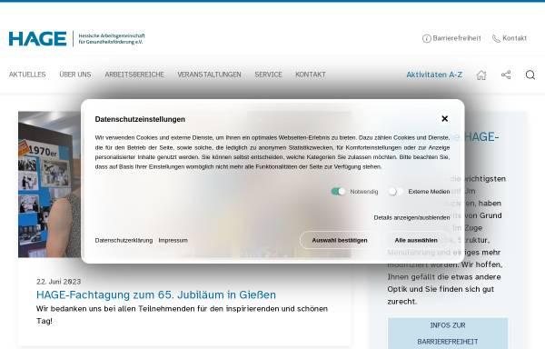 Vorschau von www.hage.de, Netzwerk für Gesundheit in Hessen
