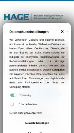 Vorschau der mobilen Webseite www.hage.de, Netzwerk für Gesundheit in Hessen
