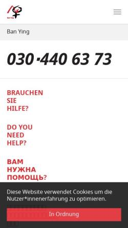 Vorschau der mobilen Webseite www.ban-ying.de, Ban Ying