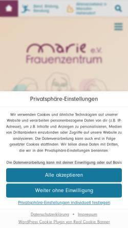Vorschau der mobilen Webseite www.frauenzentrum-marie.de, Frauenzentrum Marie e. V.