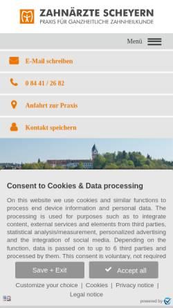 Vorschau der mobilen Webseite www.zahnaerzte-scheyern.de, Dr. Schwab Dr. Kleinschmidt Dr. Fiedler Zahnärzte