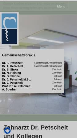 Vorschau der mobilen Webseite www.petschelt.de, Zahnarzt Gemeinschaftspraxis Dr. Petschelt und Kollegen